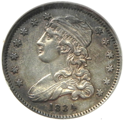 1834 NGC AU53 CAPPED BUST QUARTER DOLLAR - Attractively Toned