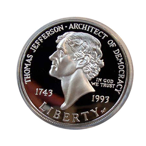 1993 PROOF THOMAS JEFFERSON SILVER DOLLAR with OGP