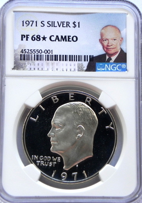 1971-S NGC PROOF 68 * STAR CAMEO EISENHOWER SILVER DOLLAR with Portrait Label