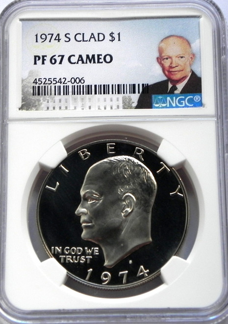 1974-S NGC PROOF 67 CAMEO CLAD EISENHOWER DOLLAR with Portrait Label