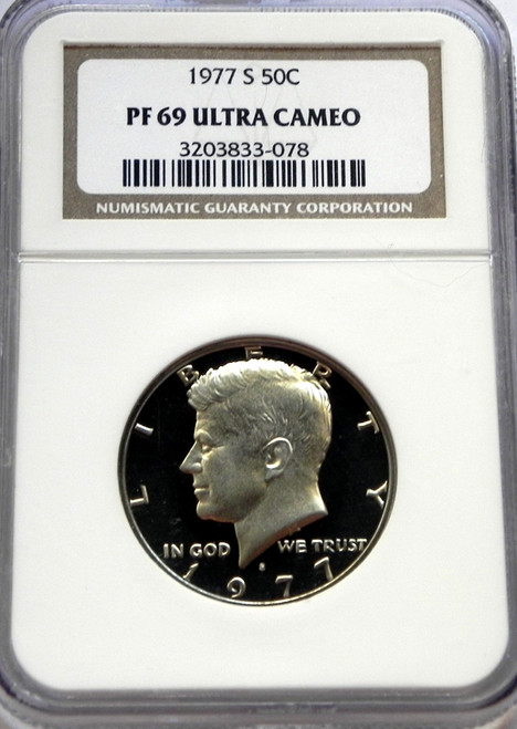 1977-S NGC PROOF 69 ULTRA CAMEO KENNEDY HALF DOLLAR.