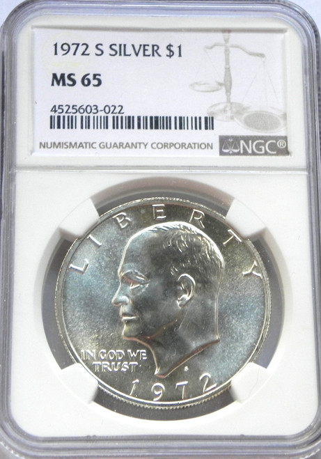 1972-S NGC MINT STATE 65 EISENHOWER SILVER DOLLAR
