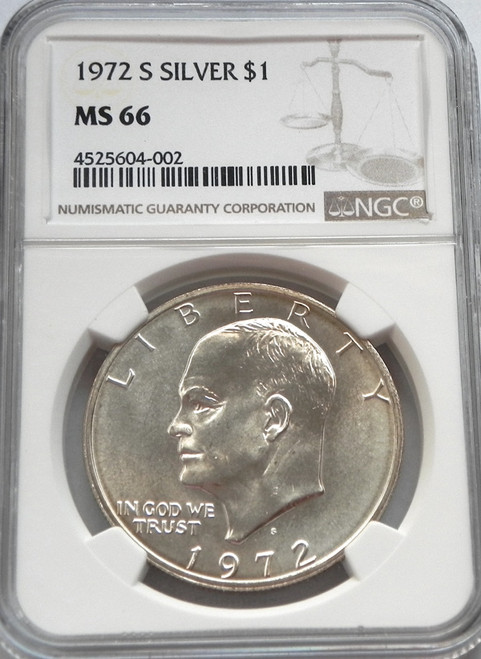 1972-S NGC MINT STATE 66 EISENHOWER SILVER DOLLAR