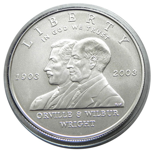 2003 MINT STATE FIRST FLIGHT WRIGHT BROTHERS SILVER DOLLAR with OGP