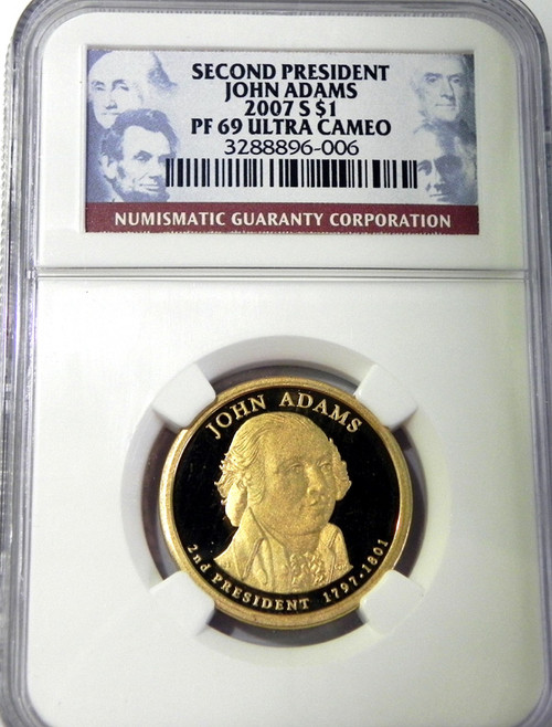 2007 NGC PROOF 69 ULTRA CAMEO JOHN ADAMS PRESIDENTIAL DOLLAR