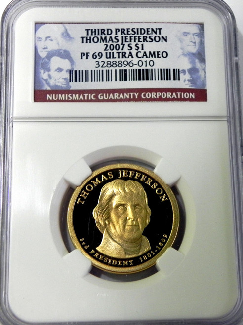 2007 NGC PROOF 69 ULTRA CAMEO THOMAS JEFFERSON PRESIDENTIAL DOLLAR