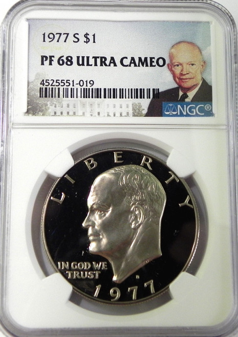 1977-S NGC PROOF 68 ULTRA CAMEO EISENHOWER DOLLAR with Portrait Label