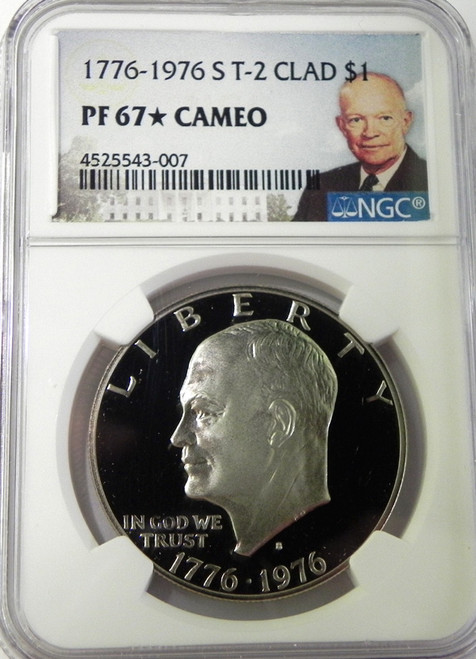 1976 NGC PROOF 67 CAMEO * STAR Type 2 eISENHOWER DOLLAR with Portrait Label