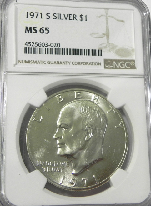 1971-S NGC MINT STATE 65 EISENHOWER SILVER DOLLAR