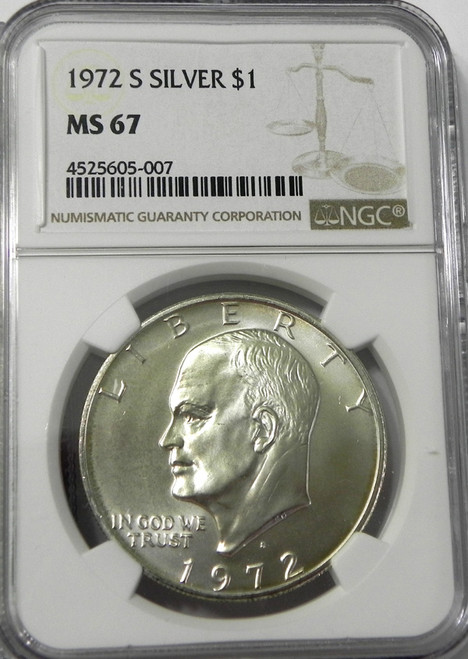 1972-S NGC MINT STATE 67 EISENHOWER SILVER DOLLAR