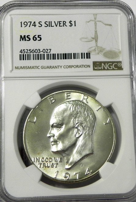 1974-S NGC MINT STATE 65 EISENHOWER SILVER DOLLAR