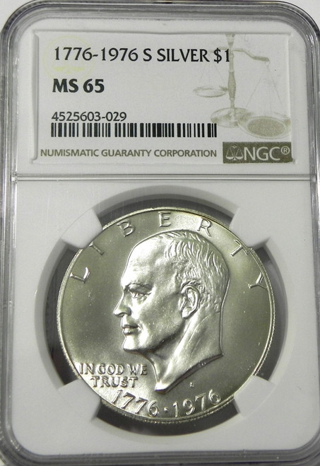 1976-S NGC MINT STATE 65 EISENHOWER SILVER DOLLAR