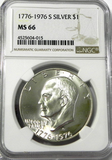 1976-S NGC MINT STATE 66 EISENHOWER SILVER DOLLAR