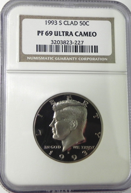 1993-S NGC PROOF 69 ULTRA CAMEO CLAD KENNEDY HALF DOLLAR
