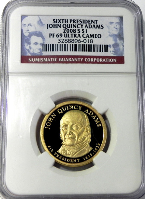 2008-S NGC PROOF 69 ULTRA CAMEO JOHN QUINCY ADAMS PRESIDENTIAL DOLLAR