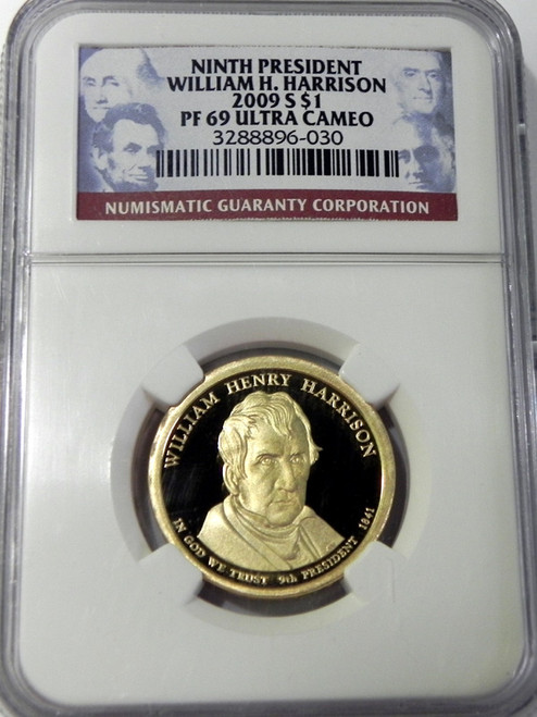 2009-S NGC PROOF 69 ULTRA CAMEO WILLIAM HENRY HARRISON PRESIDENTIAL DOLLAR