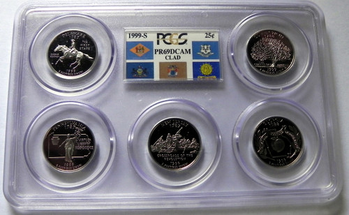 1999 PCGS PROOF 69 DEEP CAMEO CLAD STATE QUARTER SET