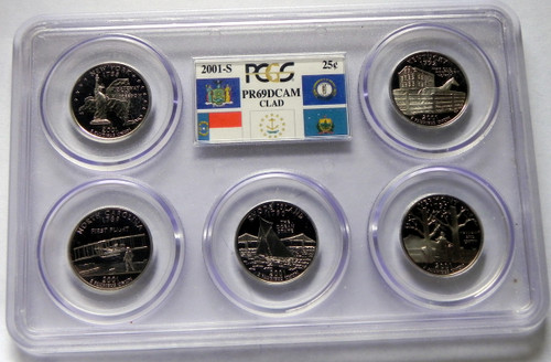 2001 PCGS PROOF 69 DEEP CAMEO CLAD STATE QUARTER SET
