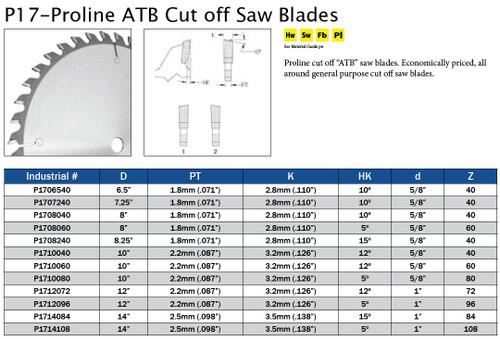 P17-Proline ATB Cut off Saw Blades