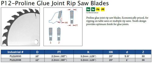 P12-Proline Glue Joint Rip Saw Blades