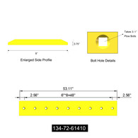 """134-72-61410.  Romac.  Komatsu style bolt on center cutting edge for a D61 Bulldozer. This is a double beveled reversible bucket center cutting edge that is 3/4""""thick, 8""""wide and 53""""in length. It takes 9 of a 3/4""""X 2 1/2""""(750X250) plow bolt and 9 of a 3/4""""(750 HEX NUT) hex nut. The bolt hole spacing is 6""""from center to center of the first 2 bolt holes, and 2.5""""when measured from the edge of the bucket cutting edge to the center of the first hole.  Quality aftermarket cutting edges for Caterpillar (CAT), JCB, Bobcat, Takeuchi, John Deere, Case, Komatsu, Kubota and many others including manufacturers such as ESCO, Black Cat, Valley Blades for all your backhoe, grader, loader, skid steer and excavator cutting edge needs."""