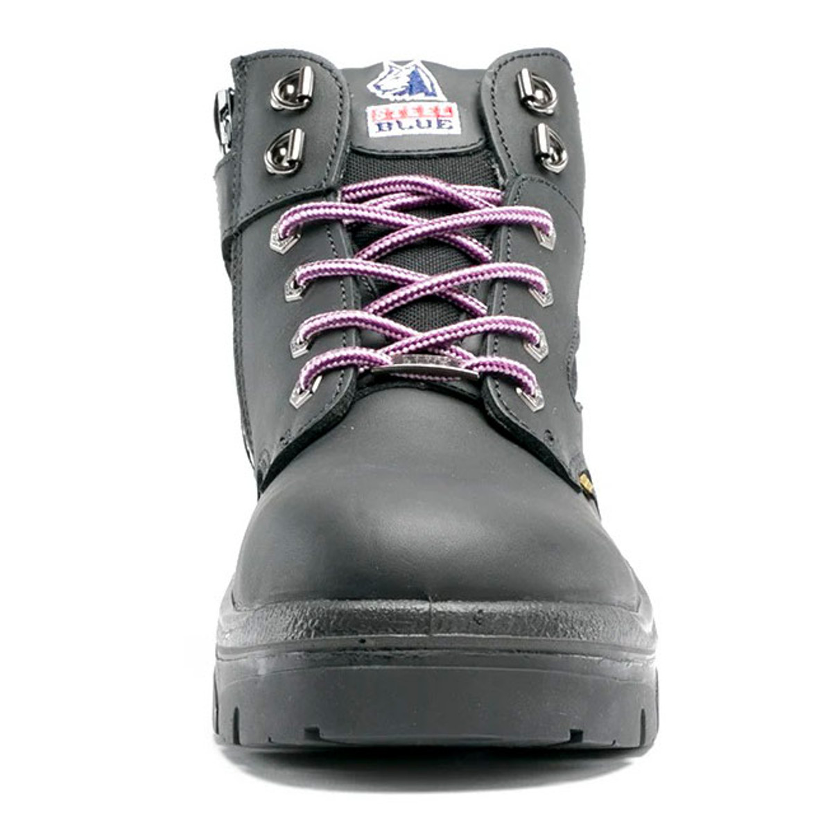 Safety Work Boots Steel Blue Parkes Leather Hiker Boots with Zip side 392658