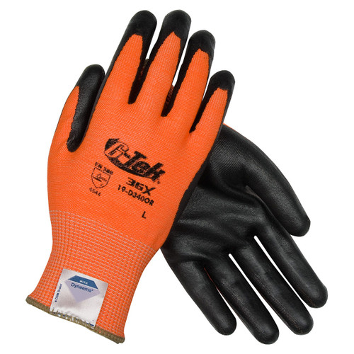 G-Tek 3GX High Vis Orange Spandex Knit w/ Nitrile Coated Foam Grip Gloves - 19-D340