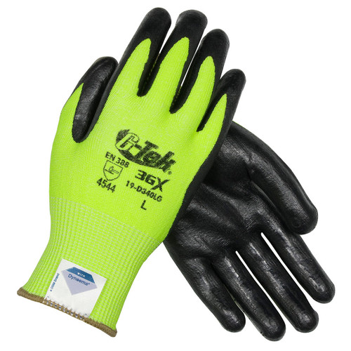 G-Tek 3GX High Vis Lime Spandex Knit w/ Nitrile Coated Foam Grip Gloves - 19-D340