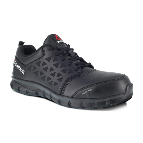 Reebok Women's Sublite Alloy Toe Black LeatherAthletic Work Shoe RB047