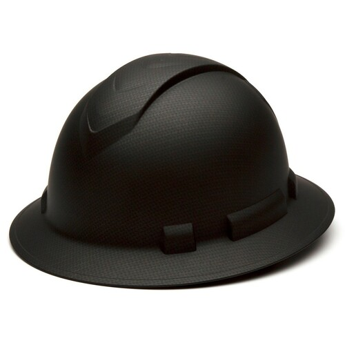Pyramex Ridgeline Graphite Full Brim 4-Point Ratchet Hard Hat - Black