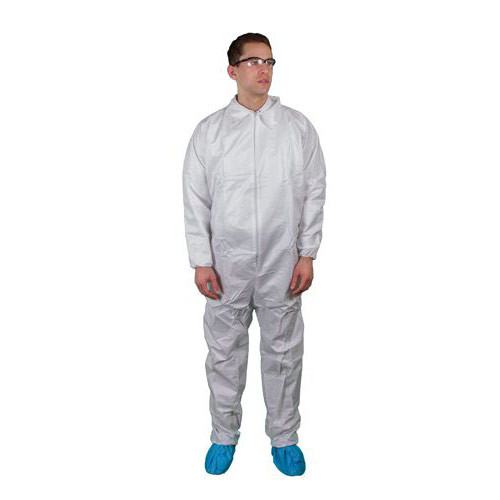 Keystone Safety Coverall Suit with Elastic Wrists and Ankles - CVL-SMS-E - Size L