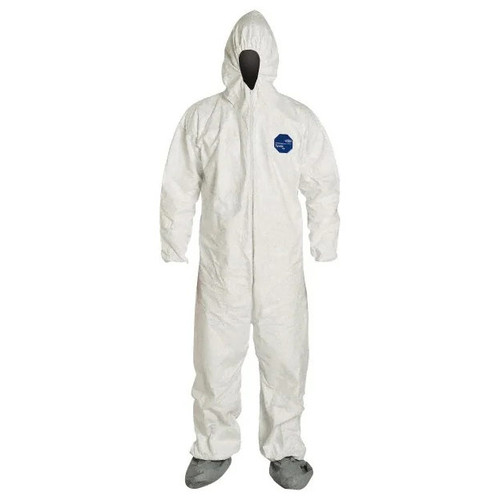 Dupont Hooded and Booted Tyvek Coverall Suit with Elastic Wrists - TY122SWH - Size L, XL