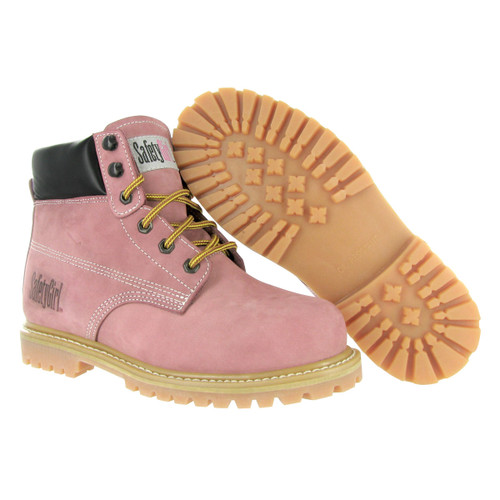 Safety Girl Steel Toe Work Boots - Light Pink