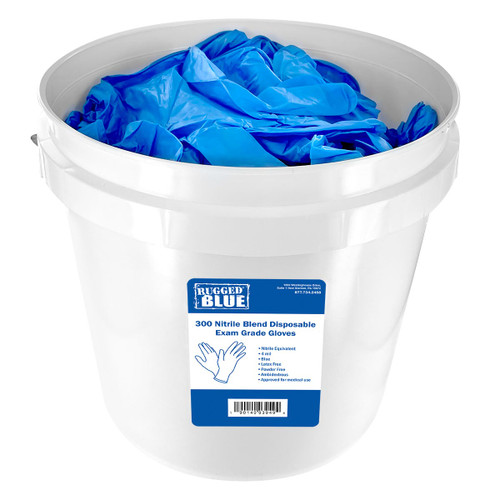 Bucket of 300 Exam Grade Nitrile Blend Disposable Gloves - (S, M, L, XL)