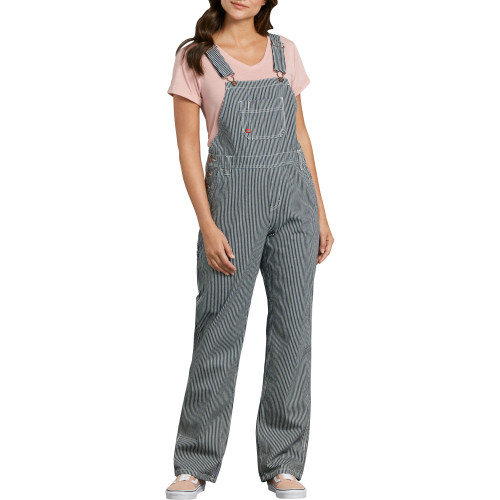 Dickies Women's Relaxed Fit Bib Overalls, Blue White Hickory Stripe - FB206-RHS