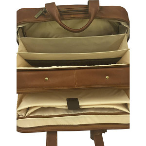 Leather Rolling Laptop Briefcase