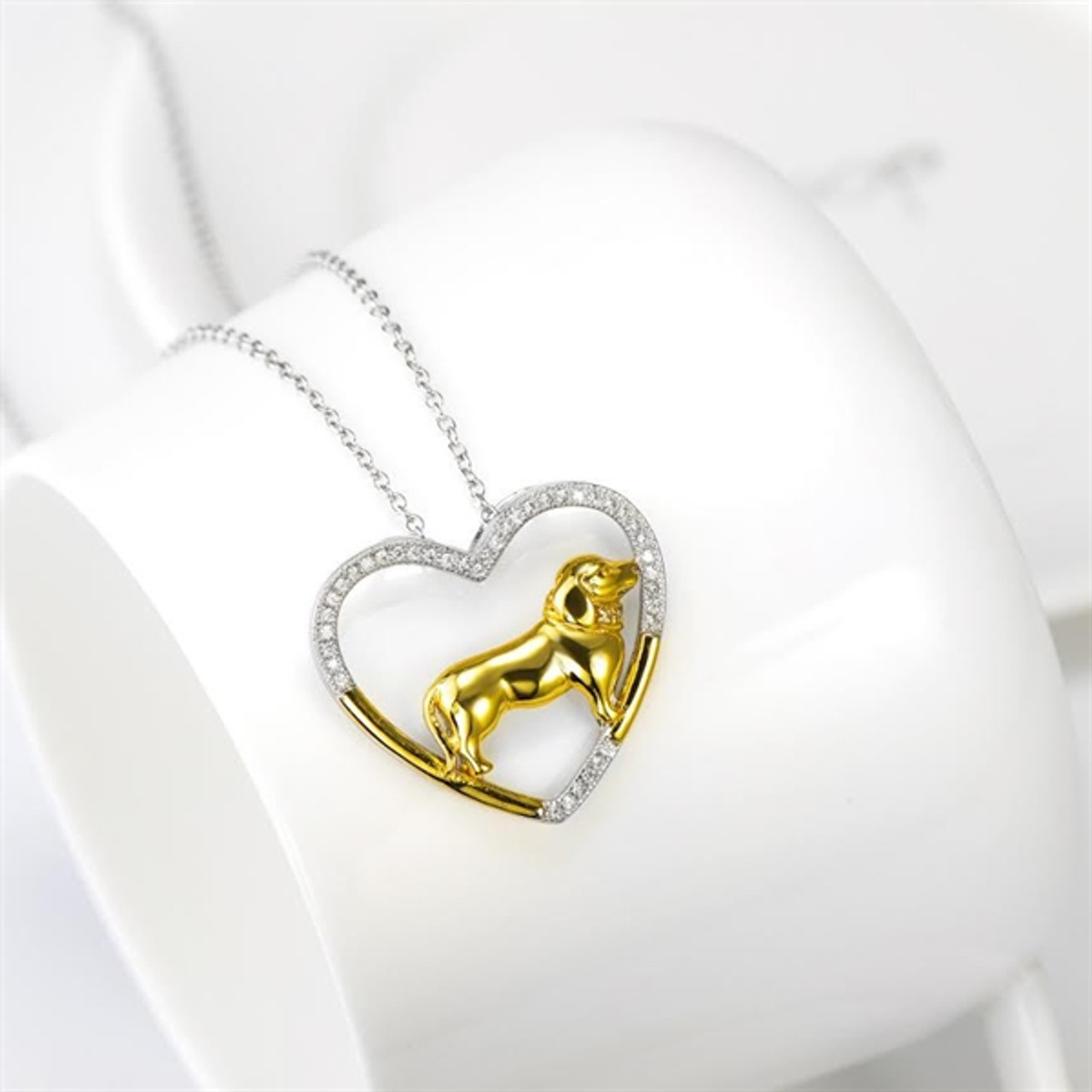 Dachshund Heart Silver and Gold Necklace