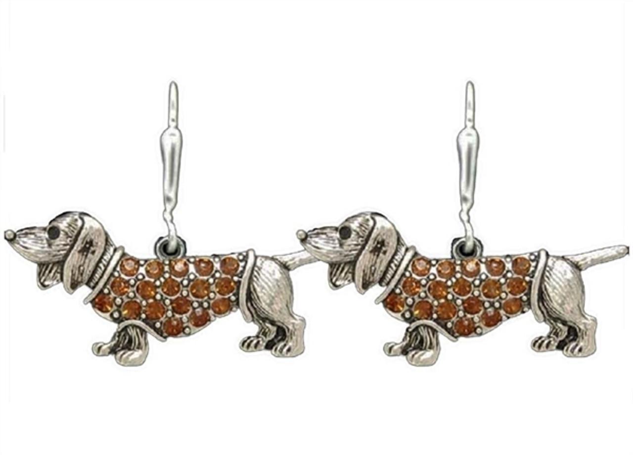 Rhinestone Dachshund Earrings