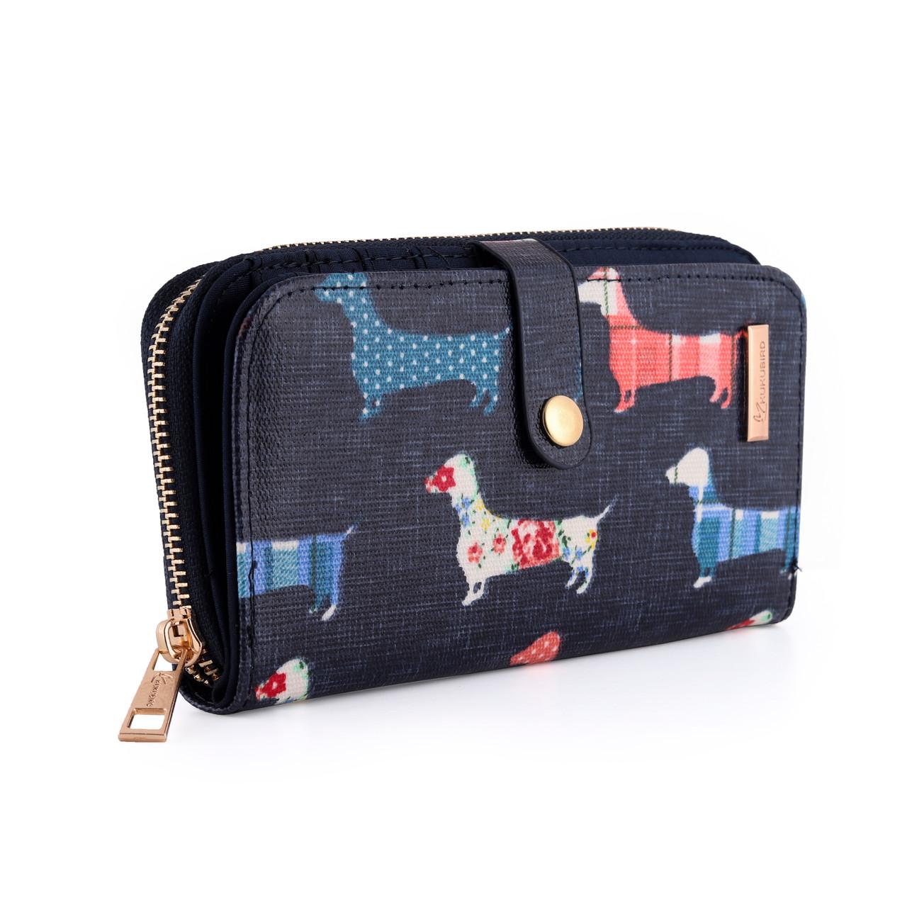 Dachshund Ladies Wallet (Dark Blue - Large)