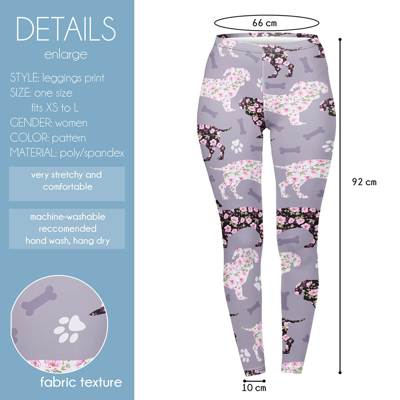 Floral Dachshund Leggings
