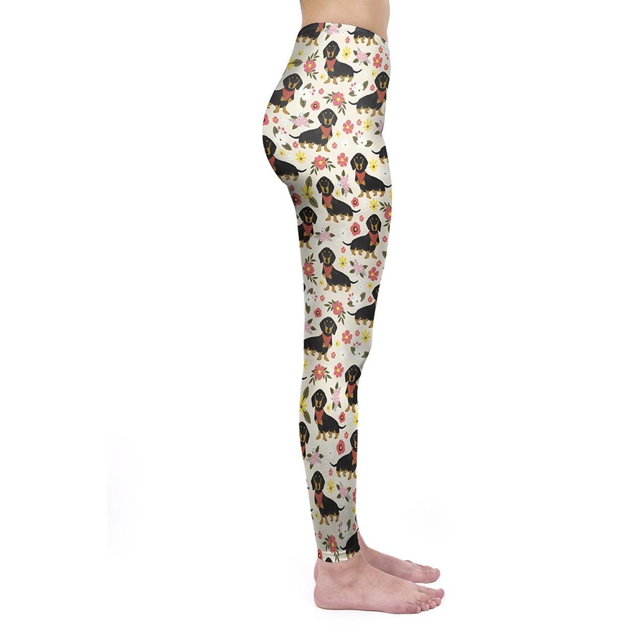 Flowery Scarf Dachshund Leggings
