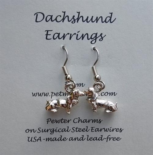 3-D Dachshund Earrings