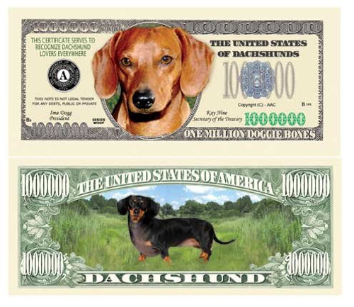 Dachshund Million Dollar Bill (set of 5)