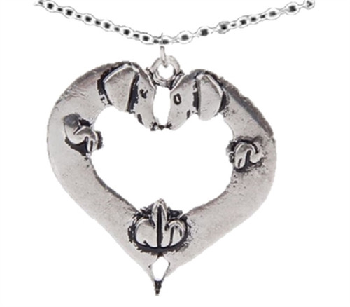Double Dachshund Heart Necklace
