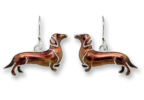 Enamel Dachshund Earrings