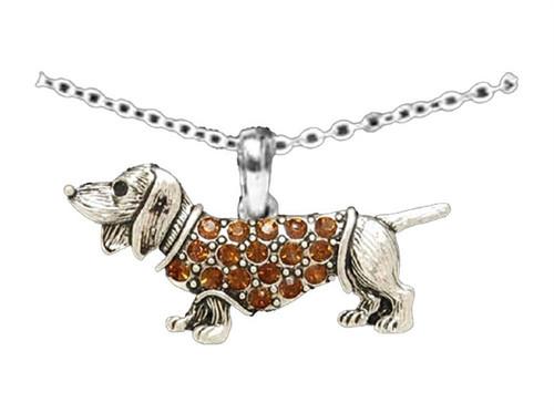 Rhinestone Dachshund Necklace
