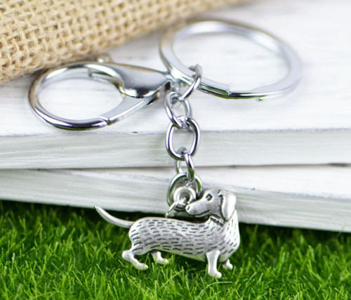 Silver Dachshund Keychain