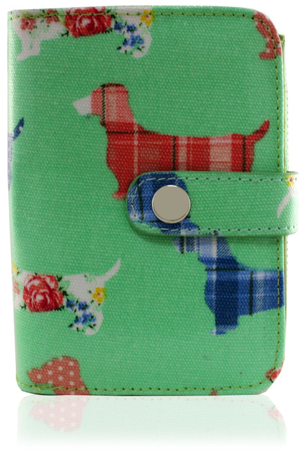 Dachshund Ladies Wallet (Green - Large)