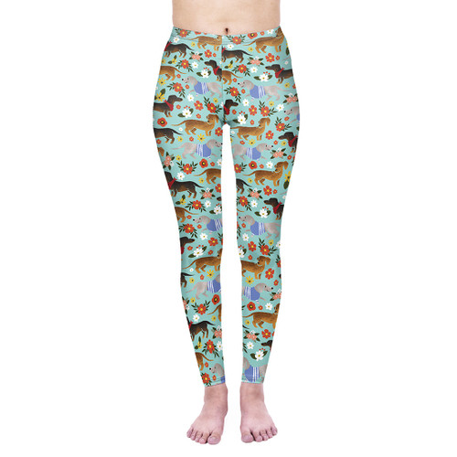 Flowery Dachshund Leggings