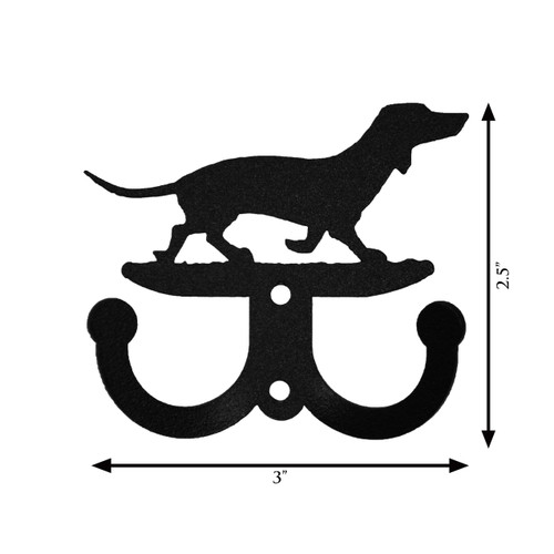 Dachshund Dog Metal 2-Hook Hanger